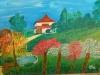 The Japanese Garden in Kibutz Hefzi-bah Acrilic Painting on Canvas 2017